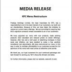 KFC Menu Adjustment Statement