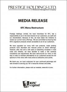 KFC Menu Restructure