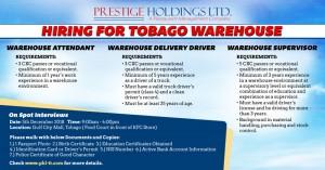 Tobago Warehouse Recruitment