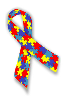 The puzzle ribbon represent the diversity of the people and families living with the condition.
