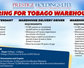 Tobago Warehouse Recruitment